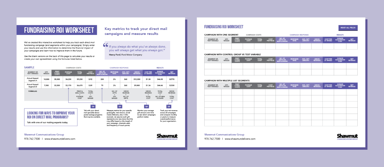 Worksheets Roi Worksheet fundraising roi worksheet shawmuts worksheet
