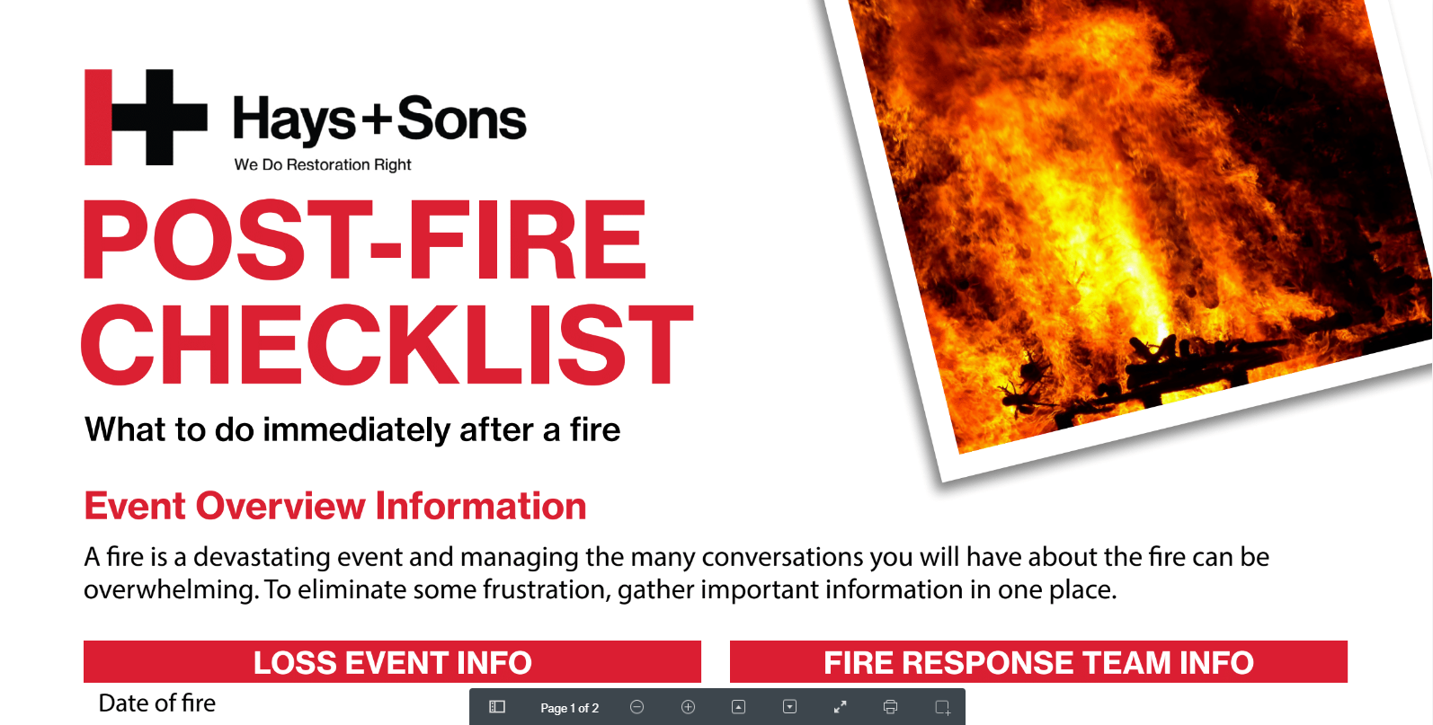 fire information checklist
