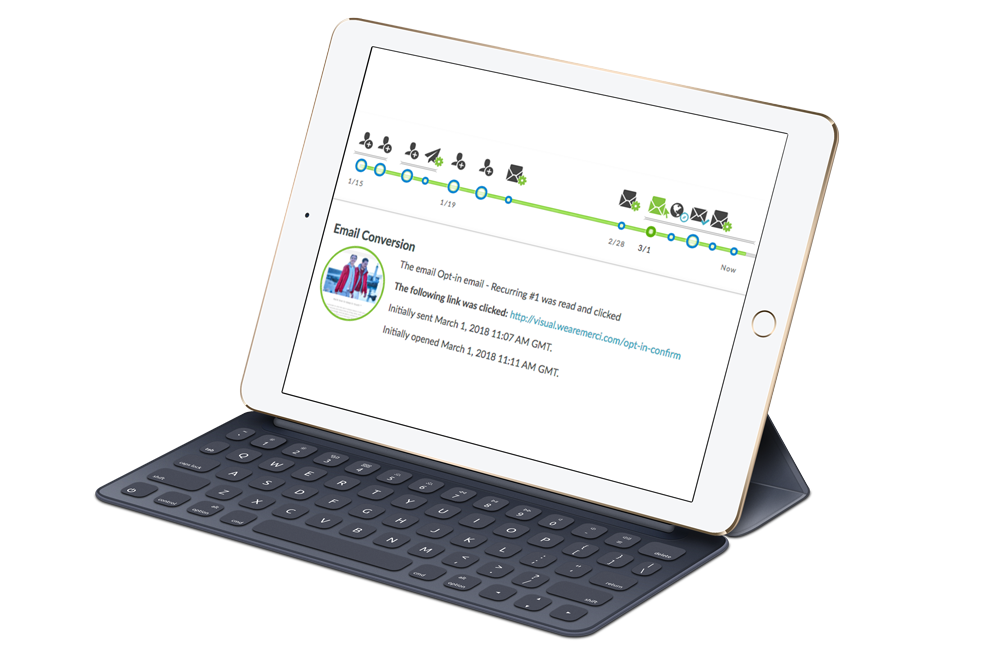 iPad Pro with Keyboard showing the tracking feature within automated marketing