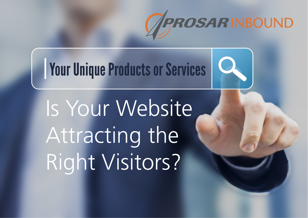 "Is your website attracting teh right visitors? Image of person searching online for ""your unique products or services"". PROSAR Inbound logo."